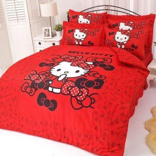 【享夢城堡】精梳棉雙人床包涼被四件組(HELLO KITTY 我的小可愛-紅.粉)