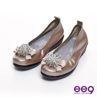 【ee9】璀璨奢華-繽紛鑽飾小牛皮質感氣墊式娃娃鞋-香檳金(娃娃鞋)