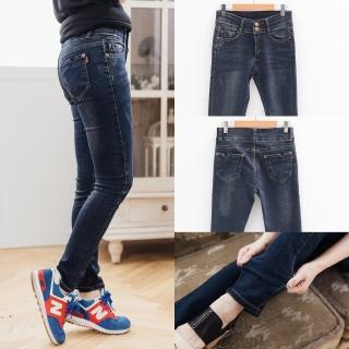 【衣心衣意中大尺碼】顯瘦設計口袋小V水洗嚴選顯瘦中腰釦直筒褲(藍A7505)