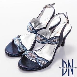 【DN】璀璨亮麗 MIT金屬光感水鑽高跟涼鞋(藍)