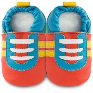 【shooshoos】安全無毒真皮健康手工學步鞋/嬰兒鞋/室內鞋/室內保暖鞋_橘底/藍黃運動型_102062(公司貨)