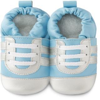 【shooshoos】安全無毒真皮健康手工學步鞋/嬰兒鞋/室內鞋/室內保暖鞋_藍銀運動型_101036(公司貨)