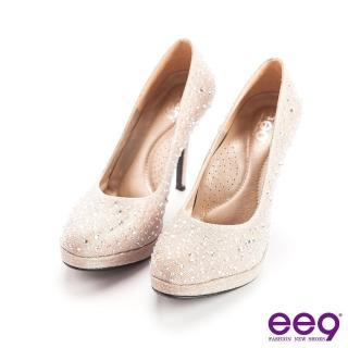 【ee9】驚豔美人-優雅簡約經典弧度夢幻晶鑽百搭細高跟鞋-金色(高跟鞋)