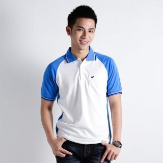 【遊遍天下】男款抗UV涼爽吸濕排汗機能POLO衫NS004白寶藍(XS-2L)