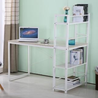 【AT HOME】艾美4尺本色白腳書架型書桌(書架左右可對調/120x60x119cm)