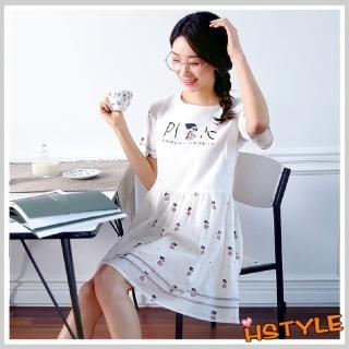 【創翊韓都】連身裙 圓領印花拼接短袖洋裝JZ5252(預購)