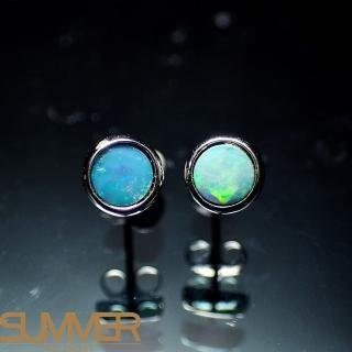【SUMMER寶石】天然澳洲國寶蛋白石耳環( 款-925銀-073)