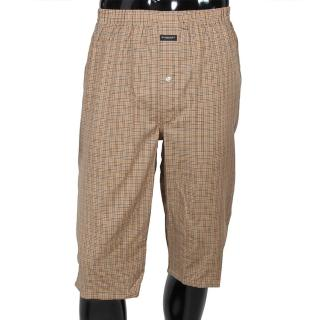 【BURBERRY 巴寶莉】細格紋棉質五分居家短褲(駝色)