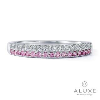【A-LUXE 亞立詩】18K金鑽石粉紅剛玉線戒