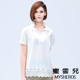 【蜜雪兒mysheros】荷葉開襟蕾絲雕花襯衫(白)