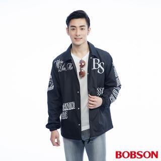 【BOBSON】男款寬版印圖外套(黑26001-88)