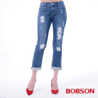 【BOBSON】女款低腰男朋友補釘褲(藍8136-53)