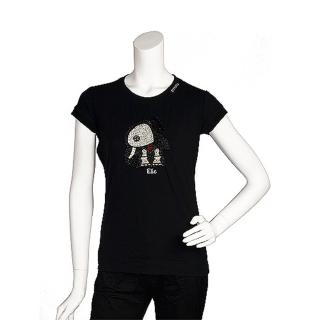 【PINKO】俏皮串珠水鑽繡縫可愛小象造型短袖T shirt(M-黑色11D0US nero limousin)