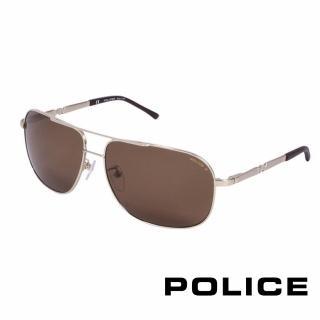 【POLICE】都會時尚偏光飛行員太陽眼鏡(金色 POS8747-349P)