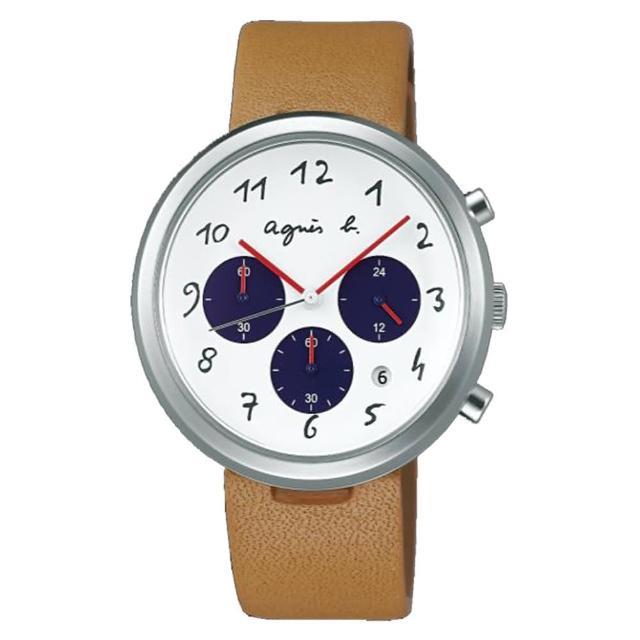 【agnes b.】法式休閒時尚皮帶腕錶-白x咖啡(VD53-KC30J/BT3026X1)評測