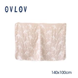 【日本 OVLOV】日本製六層紗單人童被(熊和蘋果-米)