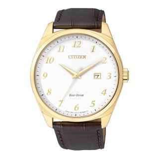 【CITIZEN】時尚風格光動能腕錶(金x皮帶/BM7322-06A)