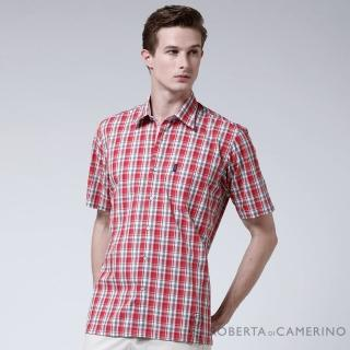 【ROBERTA諾貝達】台灣製 嚴選穿搭 學院風格紋短袖襯衫(紅色)