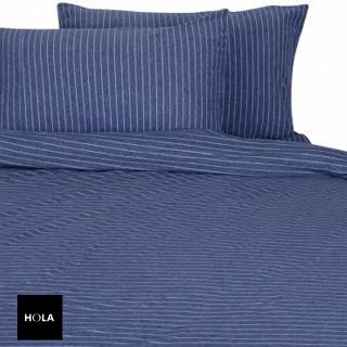 【HOLA】自然針織條紋床包雙人現代藍