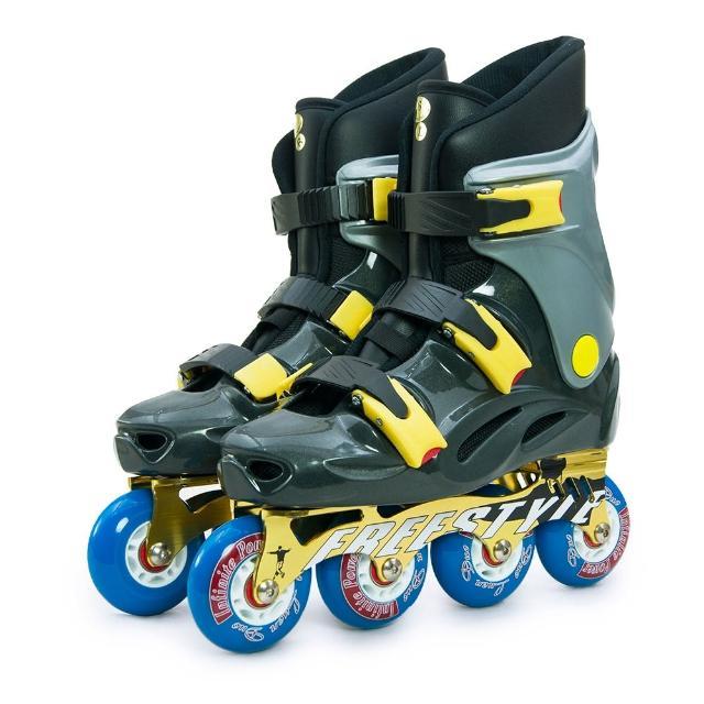 【D.L.D 多輪多】鋁合金底座 專業競速直排輪 溜冰鞋(鐵灰銀 FS-1)
