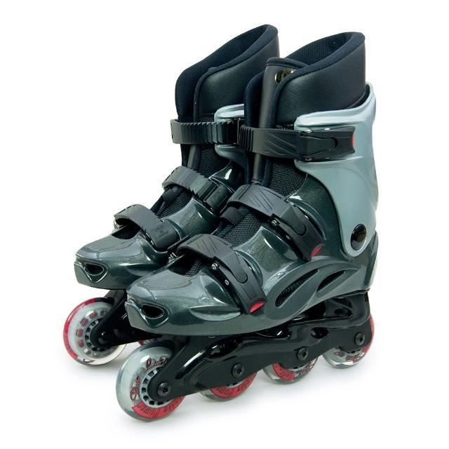 【D.L.D 多輪多】高塑鋼底座 專業直排輪 溜冰鞋(鐵灰銀 530)