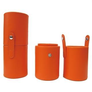 【Galatea葛拉蒂】短柄刷收納皮革圓筒(亮麗橘)