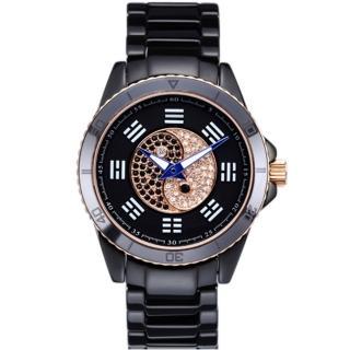 【ELIDA】時來運轉 太極八卦陶瓷錶(黑 EA2988M-RB)