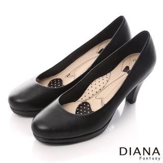 【DIANA】超厚切領帶E款-經典原色素面真皮跟鞋(黑)