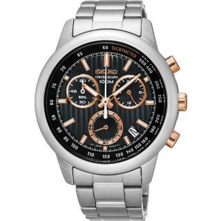 【SEIKO】精工CS系列 突擊隊計時碼錶-黑x玫塊金/ 42mm(8T68-00A0P  SSB215P1)