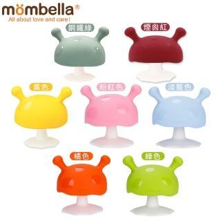 【英國《mombella 》】Q比小魔菇固齒器-依顏色選購(固齒器咬環藝人推薦部落客安撫玩具綠橘黃藍粉)
