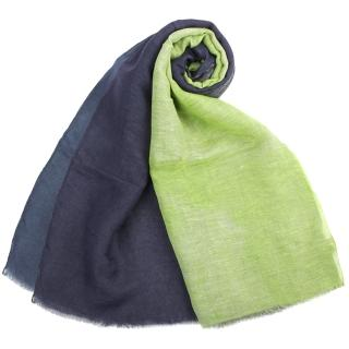 【ARMANI COLLEZIONI】拼布風漸層色混紡流蘇披肩圍巾(青檸/深藍)
