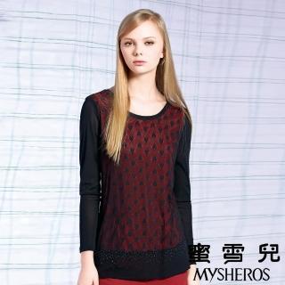 【蜜雪兒mysheros】心型柔軟網布珠珠造型上衣(黑)
