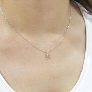 【ALUXE亞立詩】18K白金Drop鑽石鎖骨項鍊