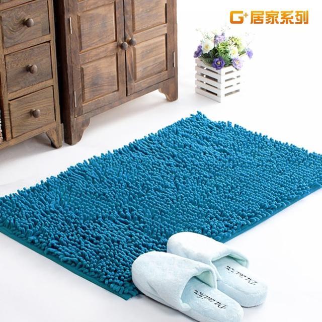 【G+居家】超細纖維長毛吸水止滑地墊腳踏墊(40X60公分-海洋藍)/
