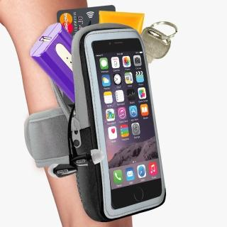 【活力揚邑】防水透氣排汗反光跑步自行車手機觸控雙層運動臂包臂套臂袋(5.7吋以下通用-黑色)