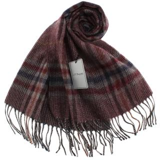 【S.T.Dupont】刺繡LOGO細格紋混紡羊毛流蘇圍巾(紅棕色)