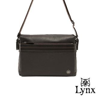 【Lynx】山貓真皮經典款極品型男橫式斜背包(大款)