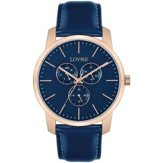 【LOVME】簡約時尚中性手錶-IP玫x藍/43mm(VL0016M-4L-L41)
