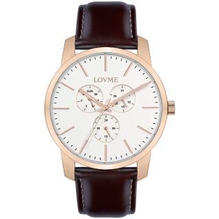 【LOVME】簡約時尚中性手錶-IP玫x白/43mm(VL0016M-4C-241)
