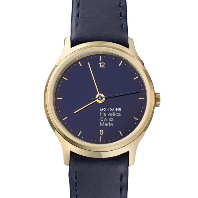 【MONDAINE瑞士國鐵】Helvetica海軍藍限量腕錶(霧金框/26mm)福利品出清