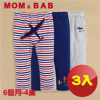 【MOM AND BAB】戰鬥飛機 純棉休閒長褲-三件組(6M-4T)