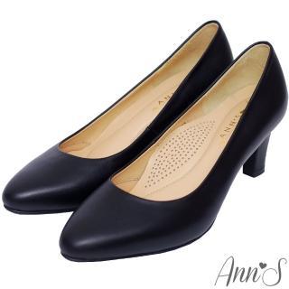 【Ann'S】通勤救星-全真羊皮杏仁尖楦中跟包鞋(黑)