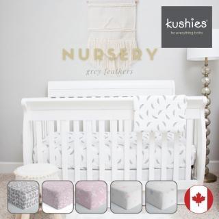 【kushies】純棉棉絨嬰兒床床包 60x120 cm(粉色系 - 床墊25公分以內適用)