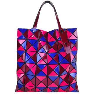 【ISSEY MIYAKE 三宅一生】三色方格6x6手提包(藍桃紫)