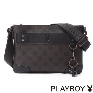 【PLAYBOY】Checkerboard Rabbit 紳士棋盤兔系列 斜背扁包(經典黑)