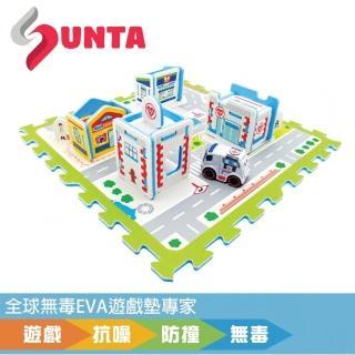 【SUNTA拼接樂扣墊】安心醫院-附小車車(EVA樂扣遊戲墊-32*32*1cm 4片裝另含配件)