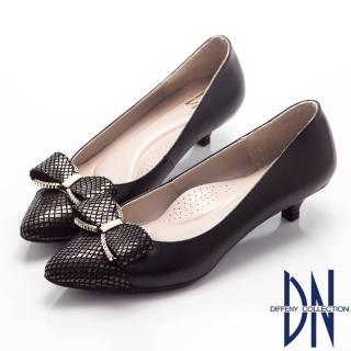 【DN】甜美佳人   浪漫鑽飾蝴蝶結尖頭低跟鞋(黑)