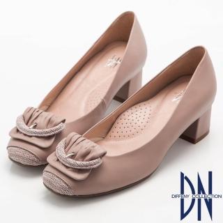 【DN】都會優雅  全真皮素面簡約飾扣低跟鞋(粉)