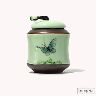 【古緣居_12H】天青色精緻手繪小茶罐(飛燕款)