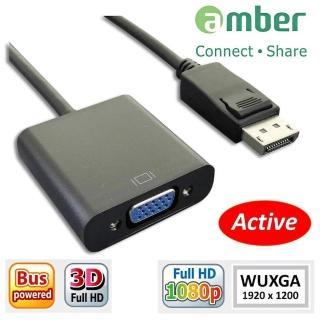 【amber】Displayport(DP)轉 VGA 訊號轉換器(DP to VGA 主動式新版晶片)